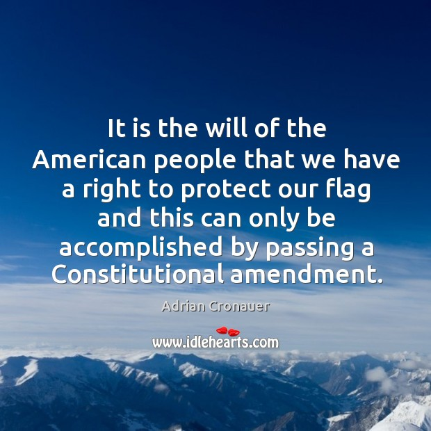 Image, It is the will of the american people that we have a right to protect our flag and this can only