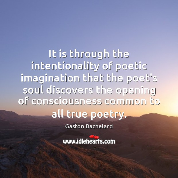It is through the intentionality of poetic imagination that the poet's soul Image