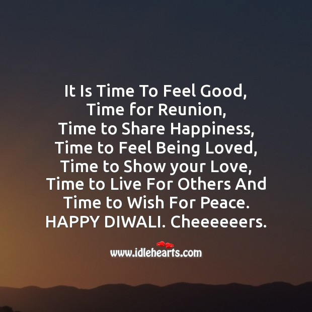 It is time to feel good Diwali Messages Image