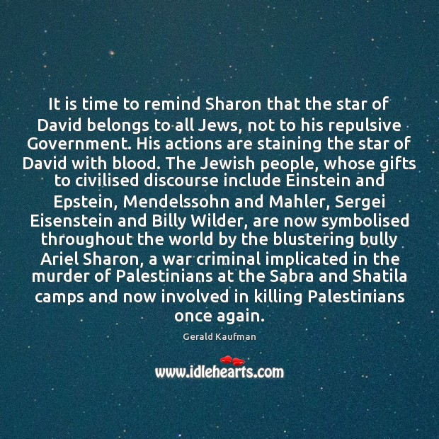 Image, It is time to remind Sharon that the star of David belongs