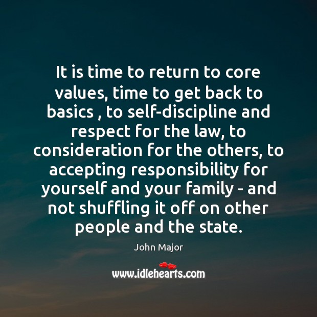Image, It is time to return to core values, time to get back
