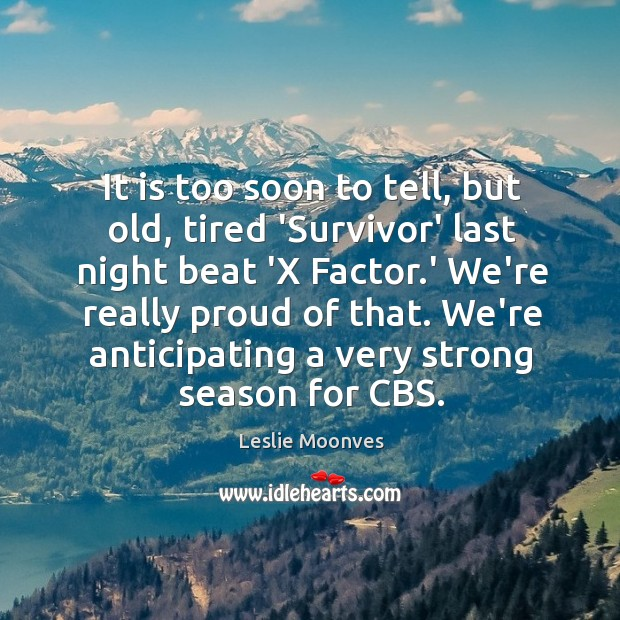 Image, It is too soon to tell, but old, tired 'Survivor' last night
