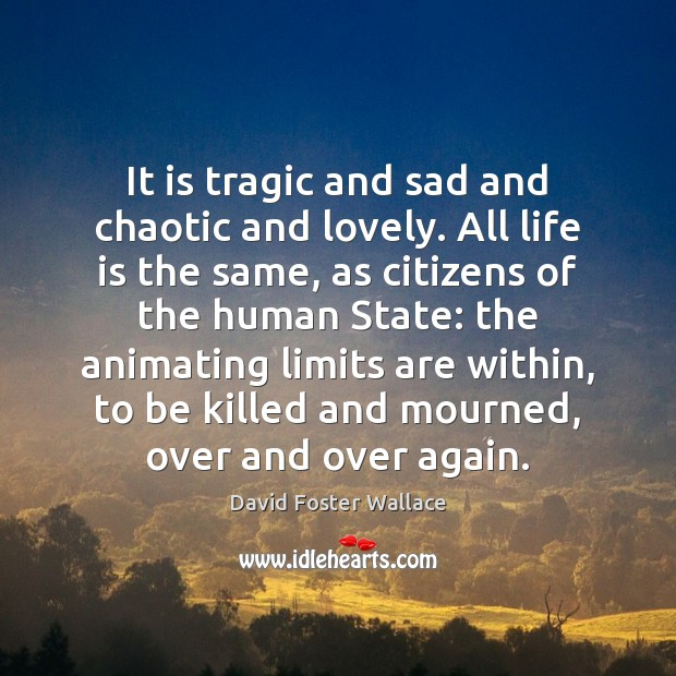 It is tragic and sad and chaotic and lovely. All life is David Foster Wallace Picture Quote
