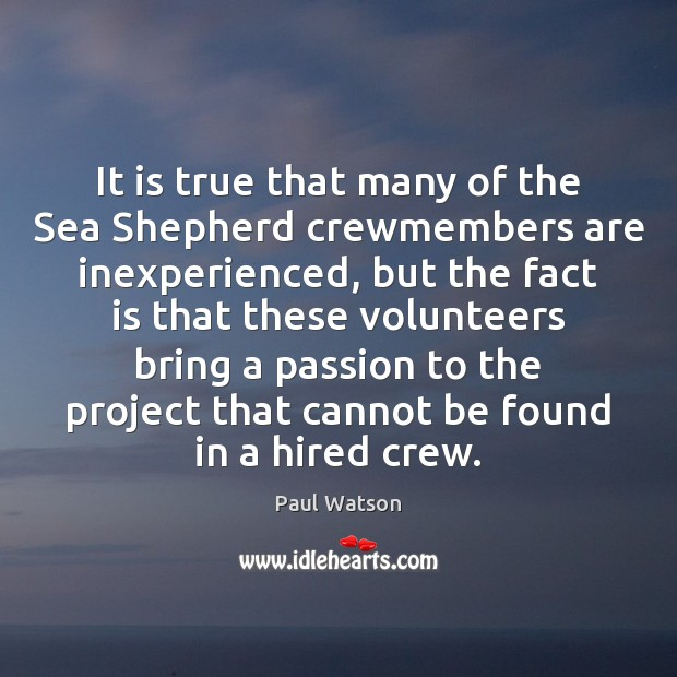 It is true that many of the Sea Shepherd crewmembers are inexperienced, Paul Watson Picture Quote