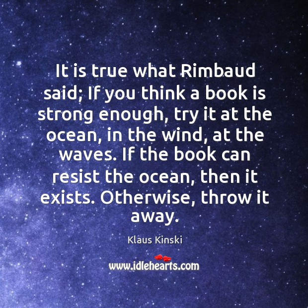 It is true what rimbaud said; if you think a book is strong enough, try it at the ocean Image