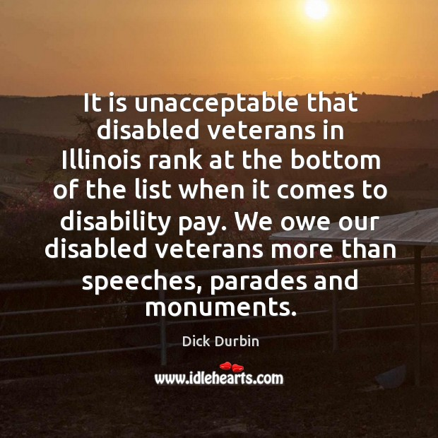 It is unacceptable that disabled veterans in illinois rank at the bottom of the Image