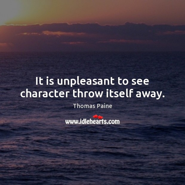 It is unpleasant to see character throw itself away. Image