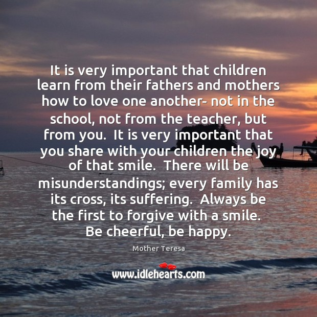 Image, It is very important that children learn from their fathers and mothers