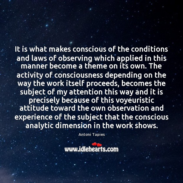 Image, It is what makes conscious of the conditions and laws of observing