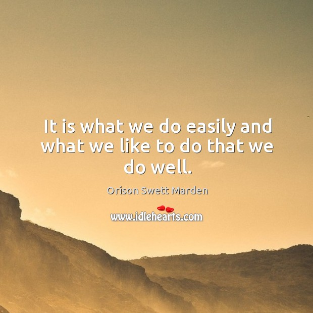 It is what we do easily and what we like to do that we do well. Image