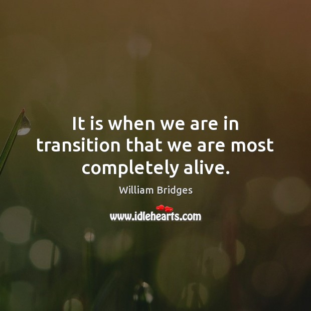 Image, It is when we are in transition that we are most completely alive.