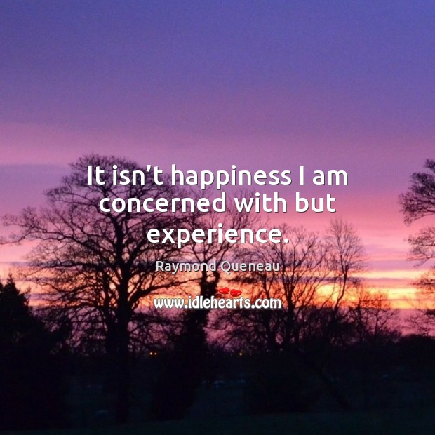 It isn't happiness I am concerned with but experience. Raymond Queneau Picture Quote