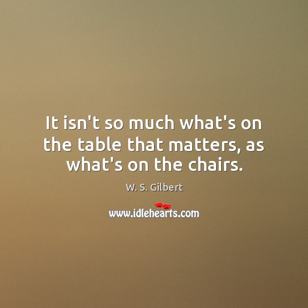 It isn't so much what's on the table that matters, as what's on the chairs. W. S. Gilbert Picture Quote