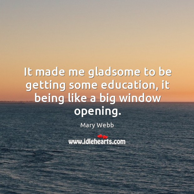 It made me gladsome to be getting some education, it being like a big window opening. Image