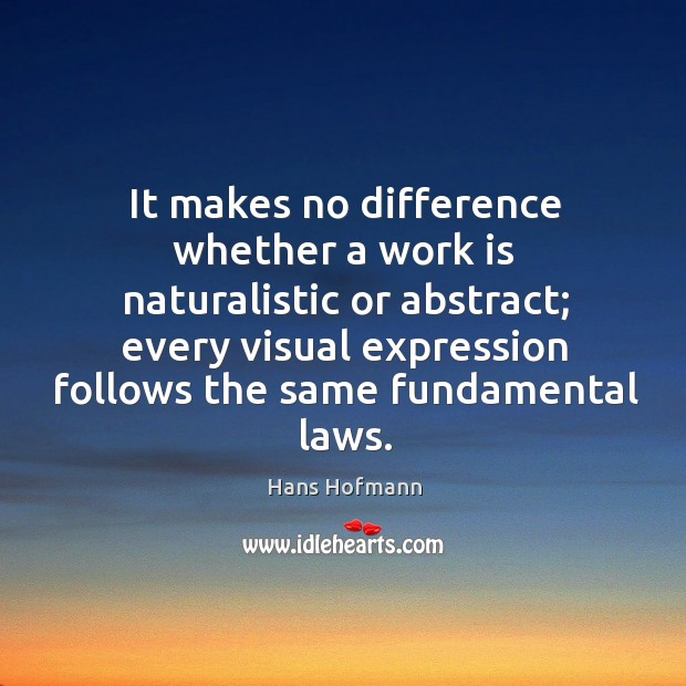 It makes no difference whether a work is naturalistic or abstract; Hans Hofmann Picture Quote