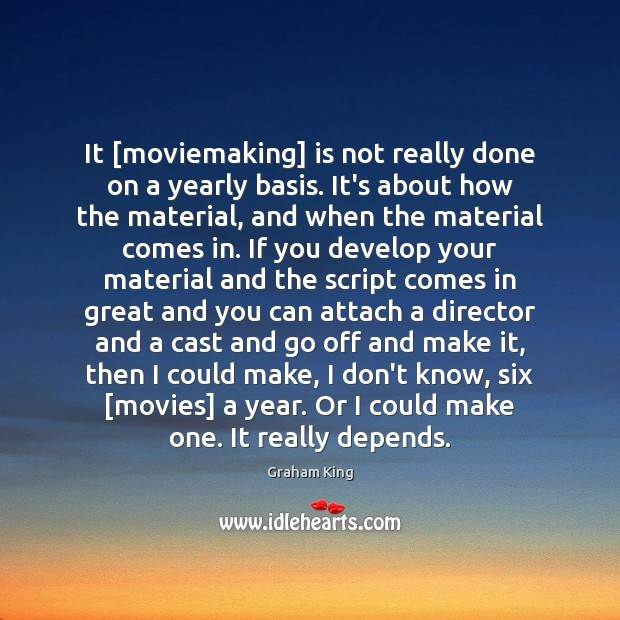 It [moviemaking] is not really done on a yearly basis. It's about Image