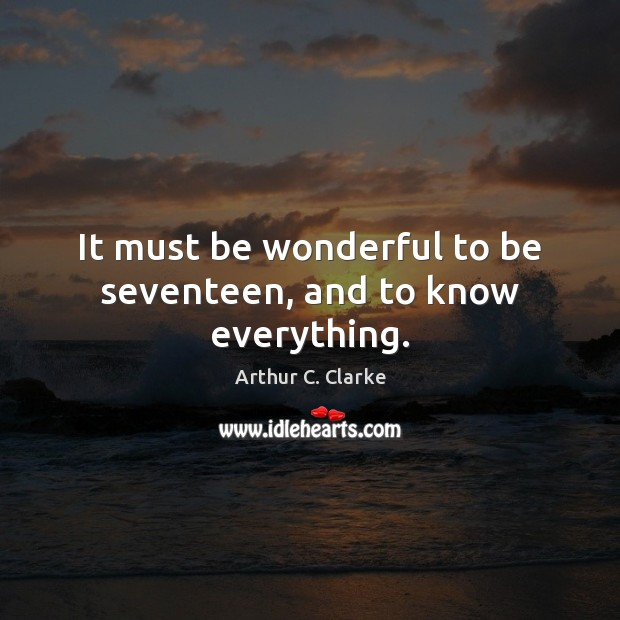 Image, It must be wonderful to be seventeen, and to know everything.