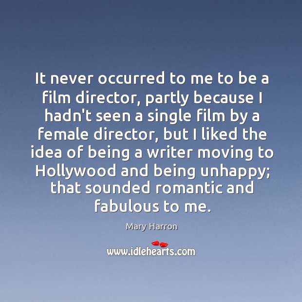 It never occurred to me to be a film director, partly because Image