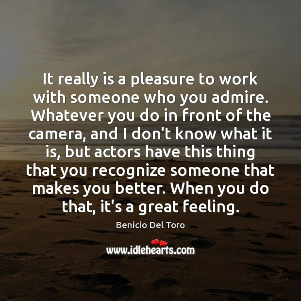 It really is a pleasure to work with someone who you admire. Benicio Del Toro Picture Quote
