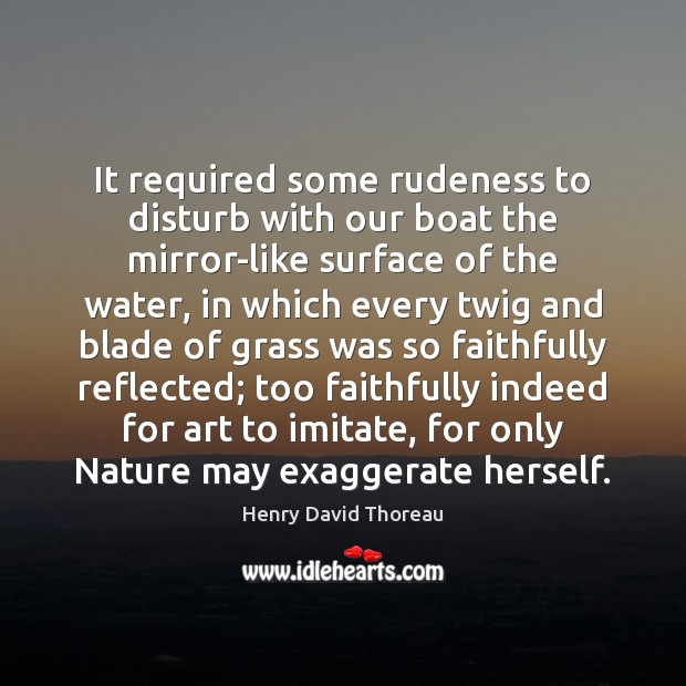 It required some rudeness to disturb with our boat the mirror-like surface Henry David Thoreau Picture Quote