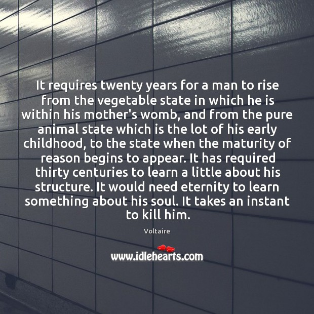 Image, It requires twenty years for a man to rise from the vegetable