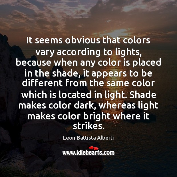 It seems obvious that colors vary according to lights, because when any Image