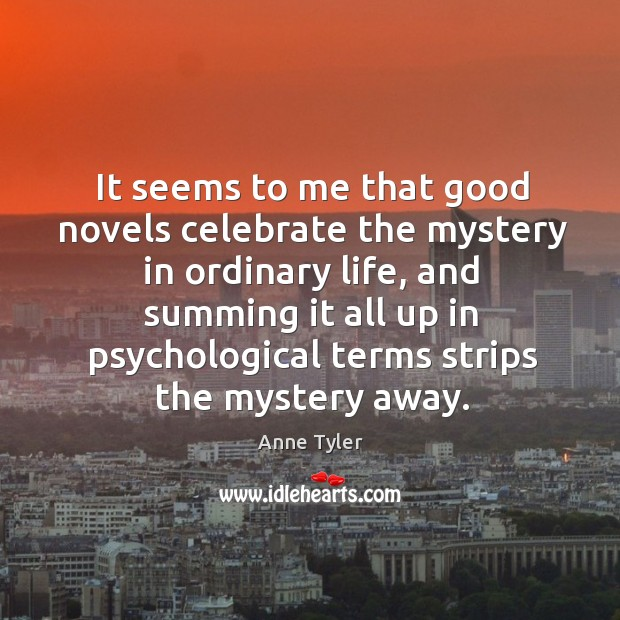 Image, It seems to me that good novels celebrate the mystery in ordinary life