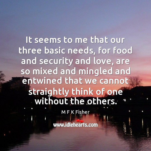 Image, It seems to me that our three basic needs, for food and