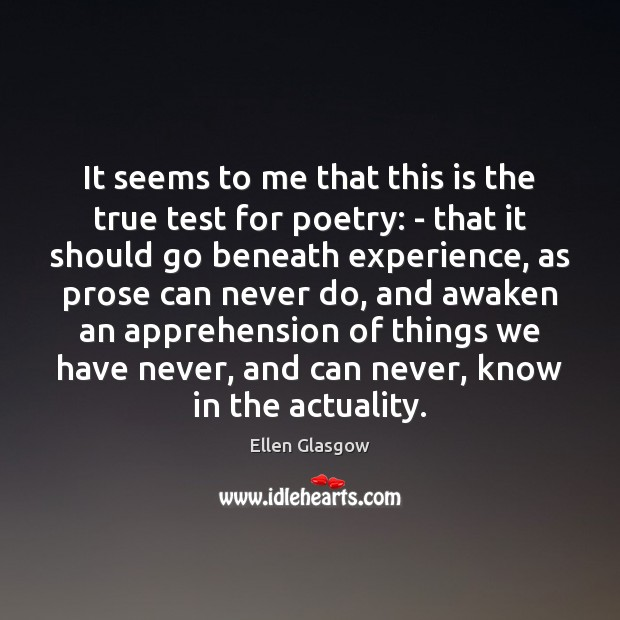 Image, It seems to me that this is the true test for poetry: