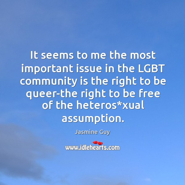Image, It seems to me the most important issue in the lgbt community is the right