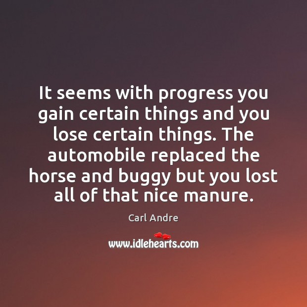 It seems with progress you gain certain things and you lose certain Carl Andre Picture Quote