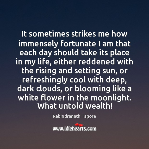 It sometimes strikes me how immensely fortunate I am that each day Rabindranath Tagore Picture Quote