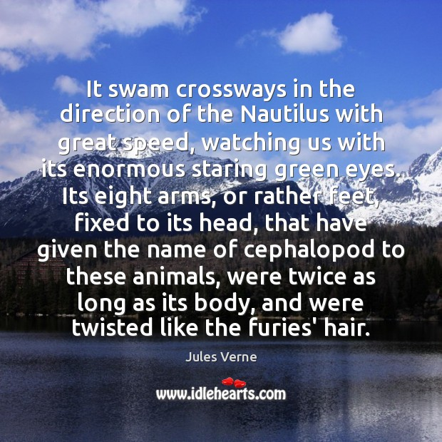 Image, It swam crossways in the direction of the Nautilus with great speed,
