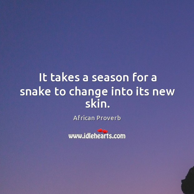 It takes a season for a snake to change into its new skin. Image