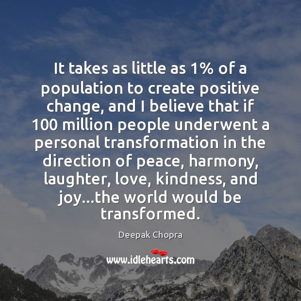 It takes as little as 1% of a population to create positive change, Image