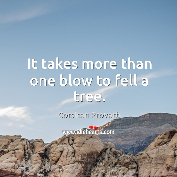 Image, It takes more than one blow to fell a tree.