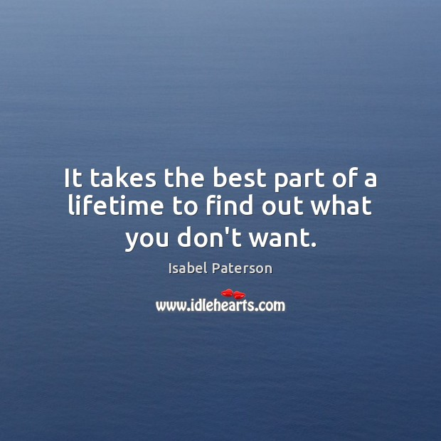 It takes the best part of a lifetime to find out what you don't want. Isabel Paterson Picture Quote
