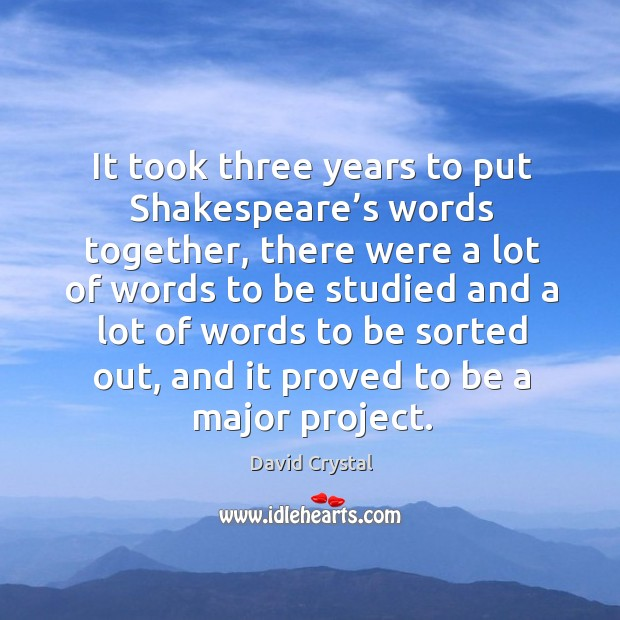 It took three years to put shakespeare's words together, there were a lot of words to be studied and Image
