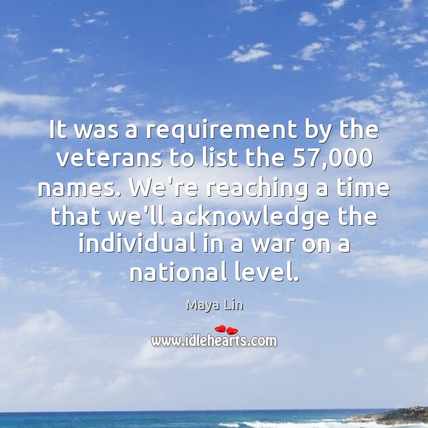 It was a requirement by the veterans to list the 57,000 names. We're Image