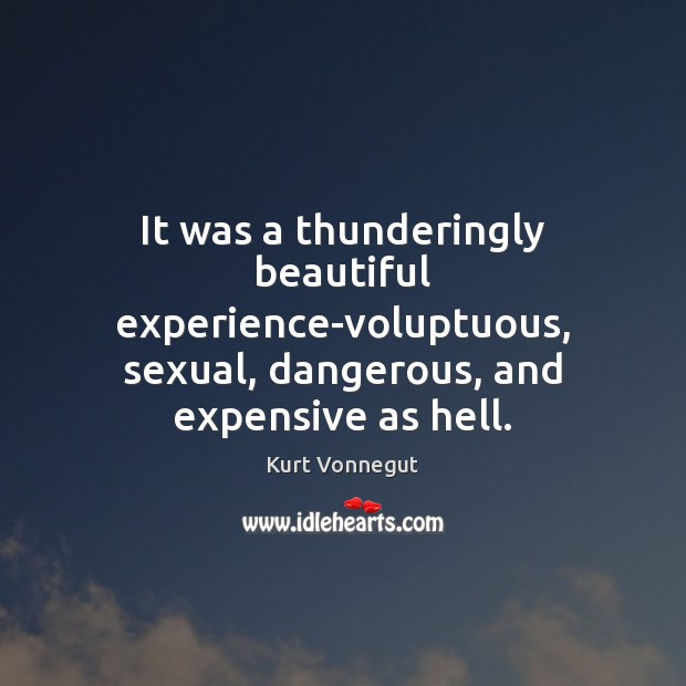 Image, It was a thunderingly beautiful experience-voluptuous, sexual, dangerous, and expensive as hell.