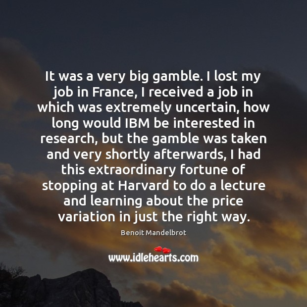 It was a very big gamble. I lost my job in France, Benoit Mandelbrot Picture Quote