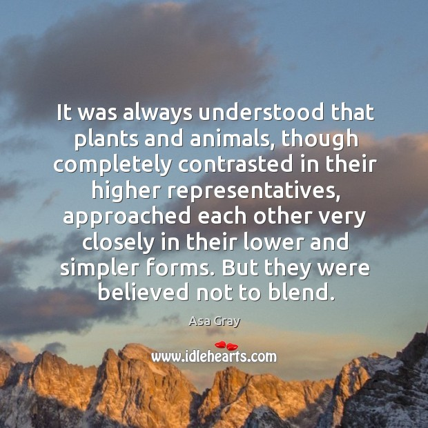 Image, It was always understood that plants and animals, though completely contrasted in their