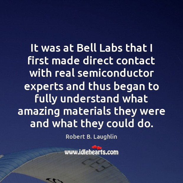 Image, It was at Bell Labs that I first made direct contact with