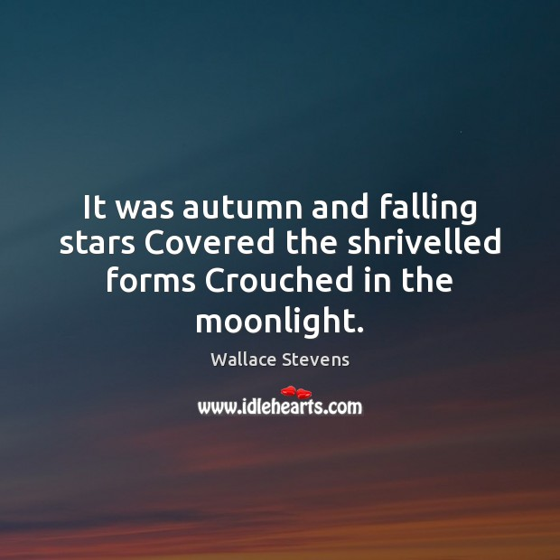 Image, It was autumn and falling stars Covered the shrivelled forms Crouched in the moonlight.
