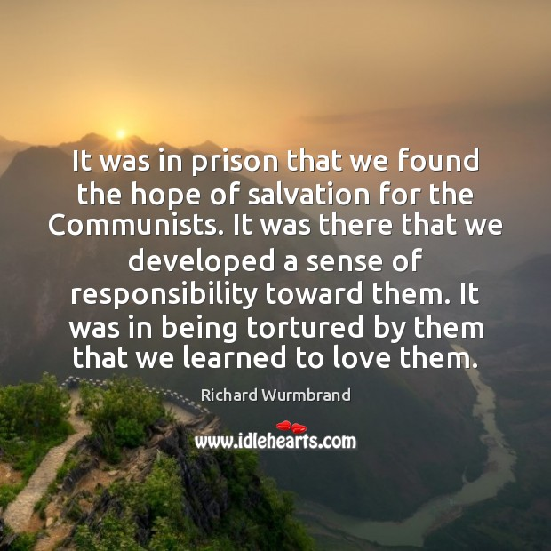 It was in prison that we found the hope of salvation for Image