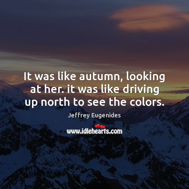 Image, It was like autumn, looking at her. it was like driving up north to see the colors.