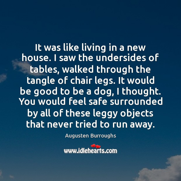 It was like living in a new house. I saw the undersides Augusten Burroughs Picture Quote