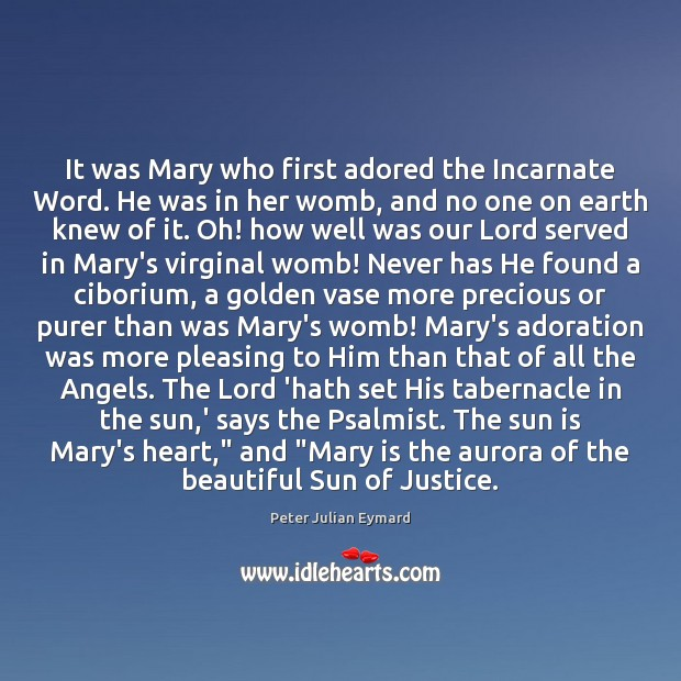 Image, It was Mary who first adored the Incarnate Word. He was in