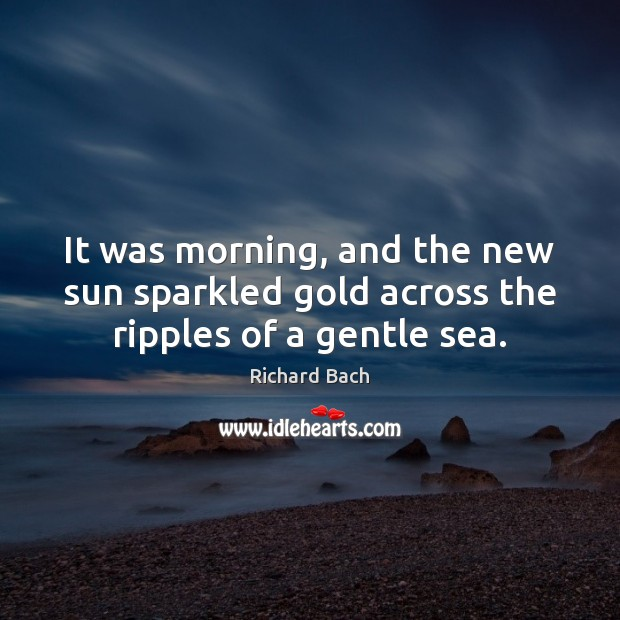 It was morning, and the new sun sparkled gold across the ripples of a gentle sea. Richard Bach Picture Quote