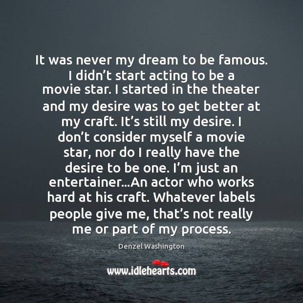 It was never my dream to be famous. I didn't start Image